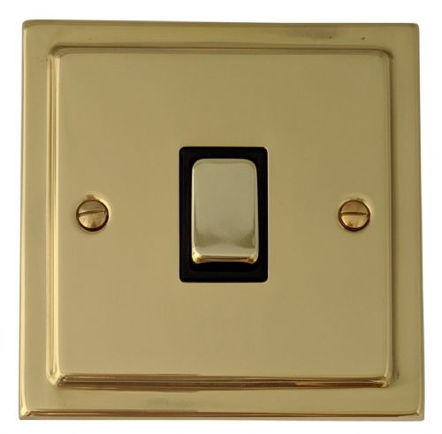 G&H TB305 Trimline Plate Polished Brass 1 Gang Intermediate Rocker Light Switch